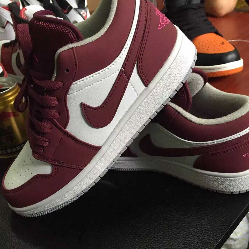 Latest 2015 Air Jordan 1 Retro White Wine Red Shoes