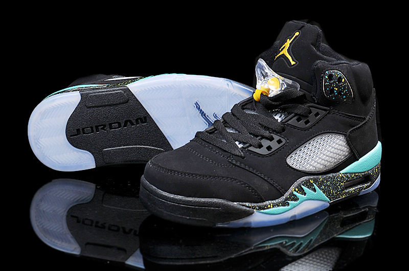 Latest 2015 Air Jordan 5 Retro Black Green Shoes
