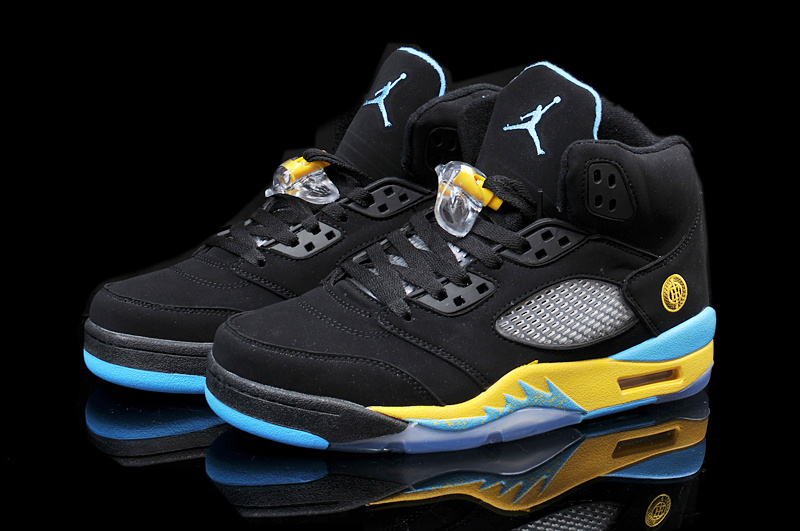 Latest 2015 Air Jordan 5 Retro Black Yellow Blue Shoes