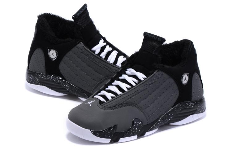Latest 2015 Air Jordan 14 Retro Wool Black Grey Shoes