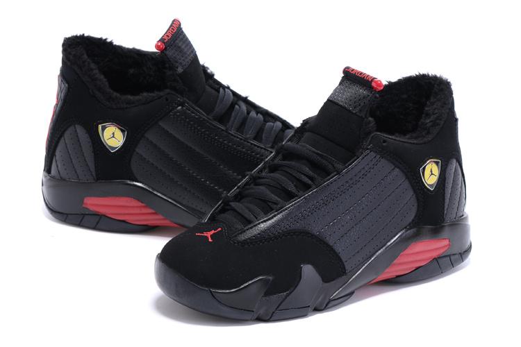 Latest 2015 Air Jordan 14 Retro Wool Black Red Shoes