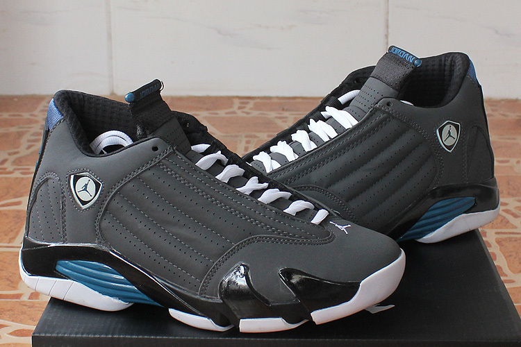 New Air Jordan 14 Retro Black Grey Blue