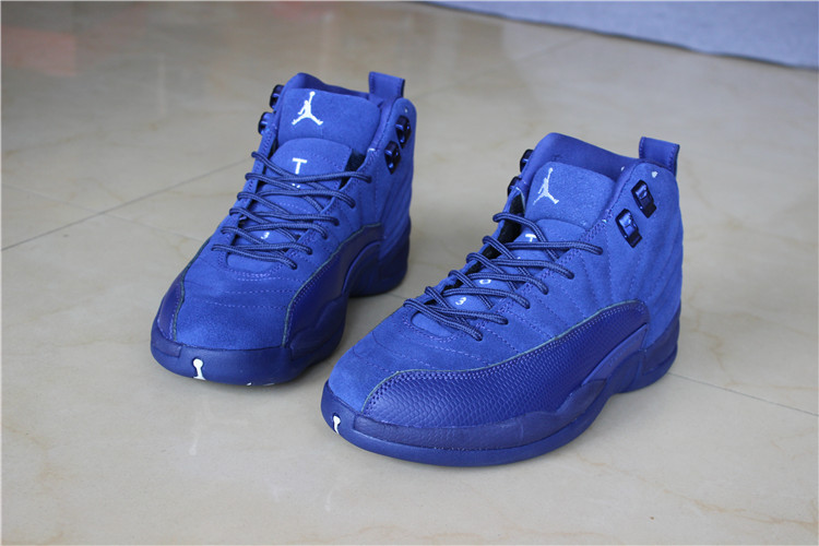 2016 Air Jordan 12 Blue Suede Shoes