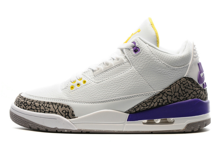 New Air Jordan 3 Retro Kobe White Purple Yellow
