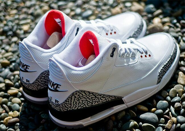 New Air Jordan 3 Retro White Cement Grey Red with Nike Air Logo