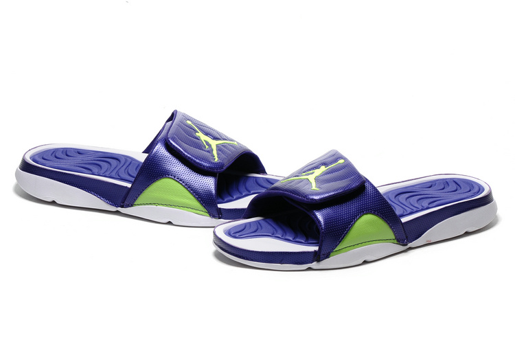 New Air Jordan Hydro IV Retro Blue White Fluorscent Green Sandal
