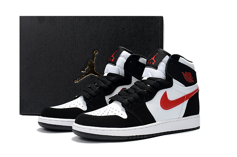 2017 Women Jordan 1 Black White Red Shoes