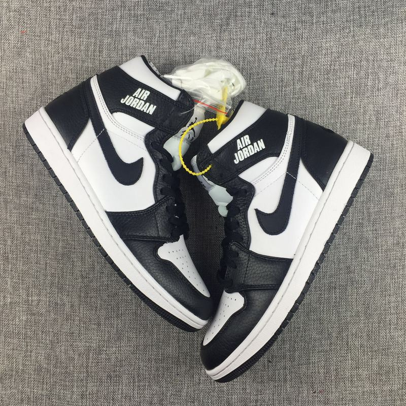 New Jordan 1 Nike Logo 2017 Black White Shoes