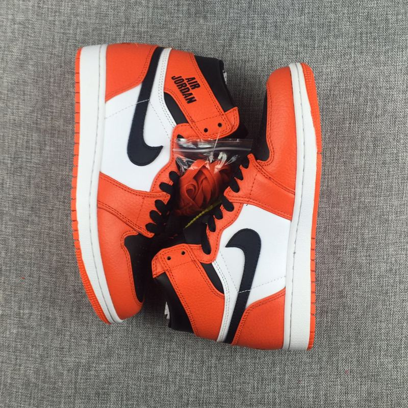 New Jordan 1 Nike Logo 2017 Breast Cancer Orange Black White Shoes
