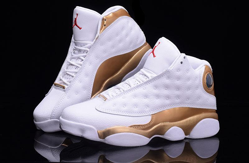 2017 Jordan 13 Retro White Gold Shoes
