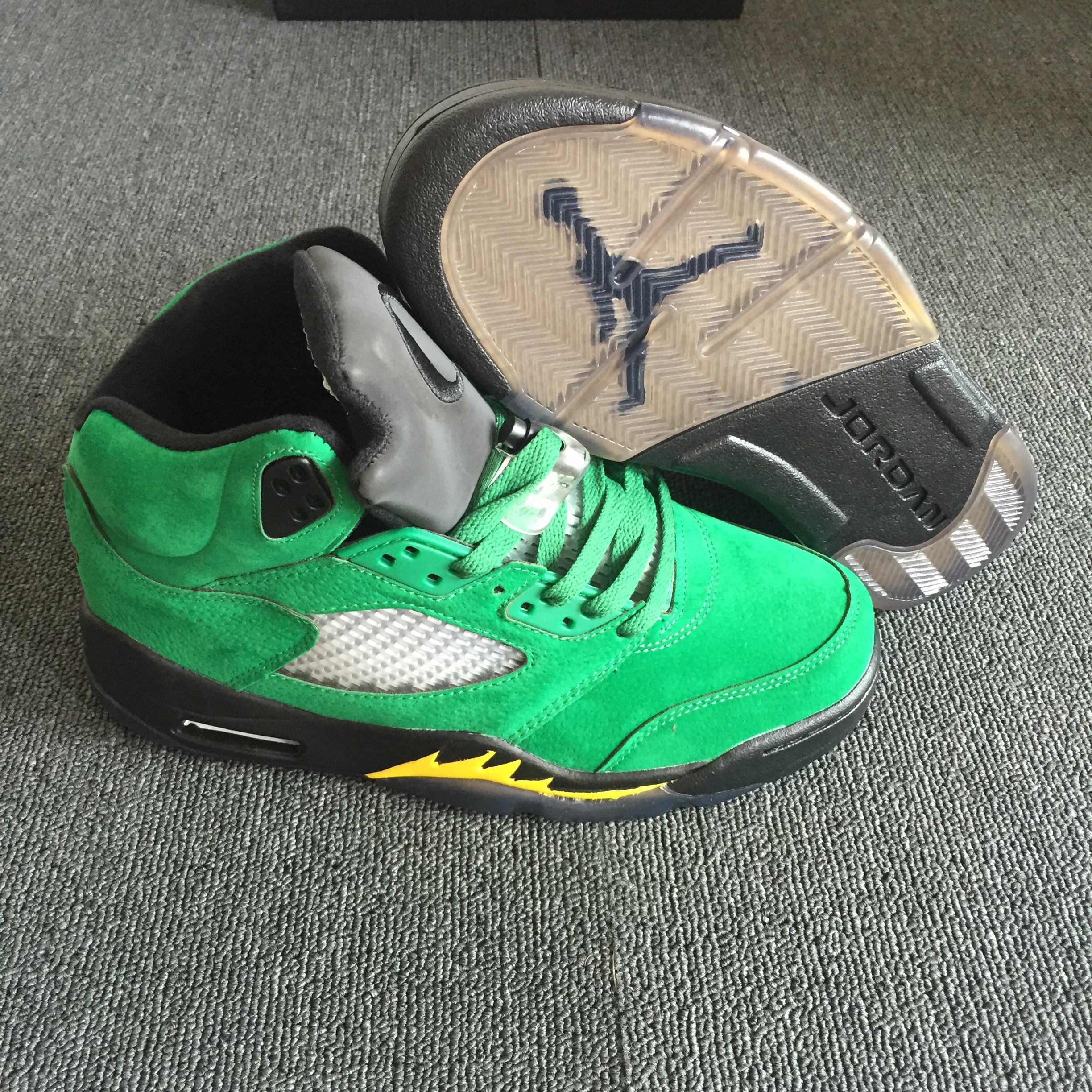 2018 Air Jordan 5 Oregon PE Green Yellow Black Shoes