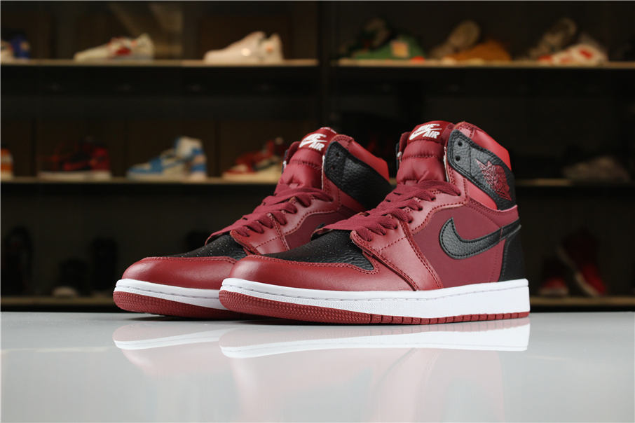2018 Men Air Jordan 1 Wine Red Black Shoes