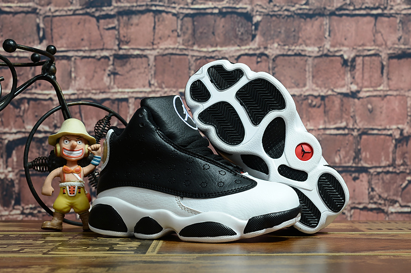2018 New Kids Air Jordan 13 Love Black White Shoes