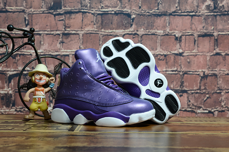 2018 New Kids Air Jordan 13 Purple White Shoes