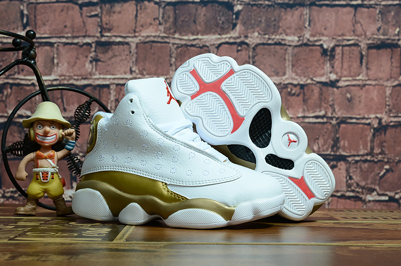 2018 New Kids Air Jordan 13 White Gold Shoes