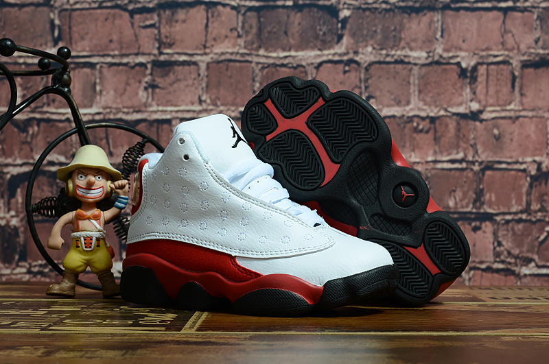 2018 New Kids Air Jordan 13 White Red Black Shoes