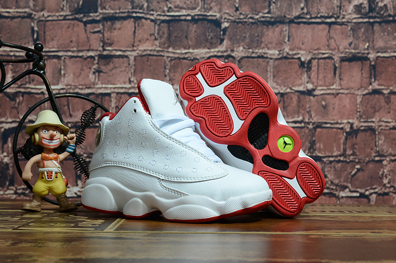 2018 New Kids Air Jordan 13 White Red Shoes