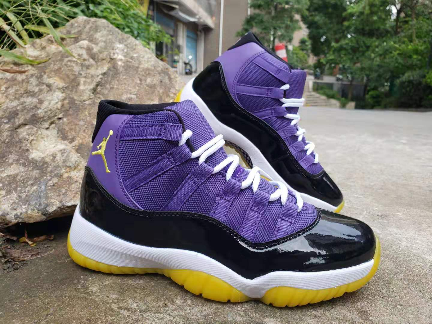 2019 Air Jordan 11 Retro Purple Black White Yellow