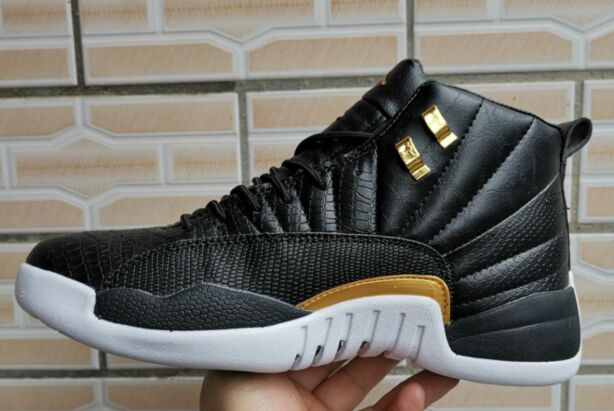 2019 Jordan 12 Retro Fish Pattern Black Gold Shoes