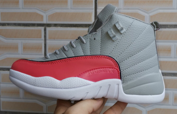 New Jordan 12 Valentine Day's Grey Red White