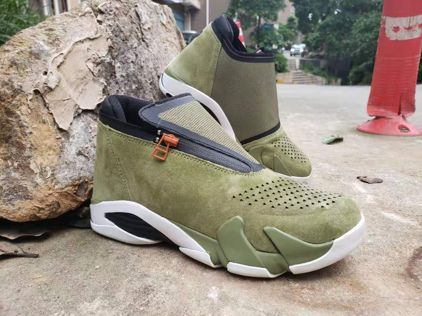 New 2019 Air Jordan 14 Retro Zipper Army Green Black