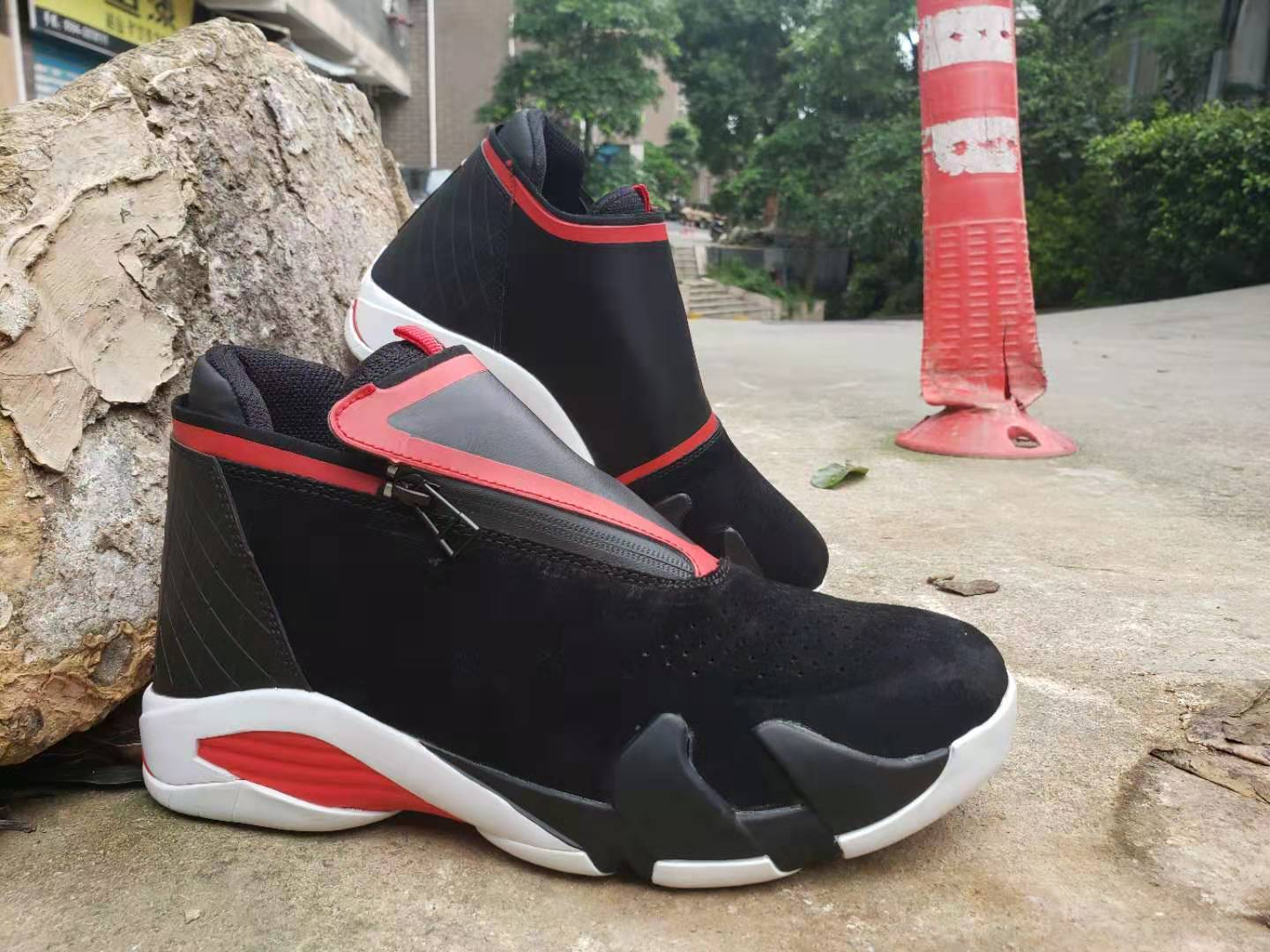 New 2019 Air Jordan 14 Retro Zipper Black Red