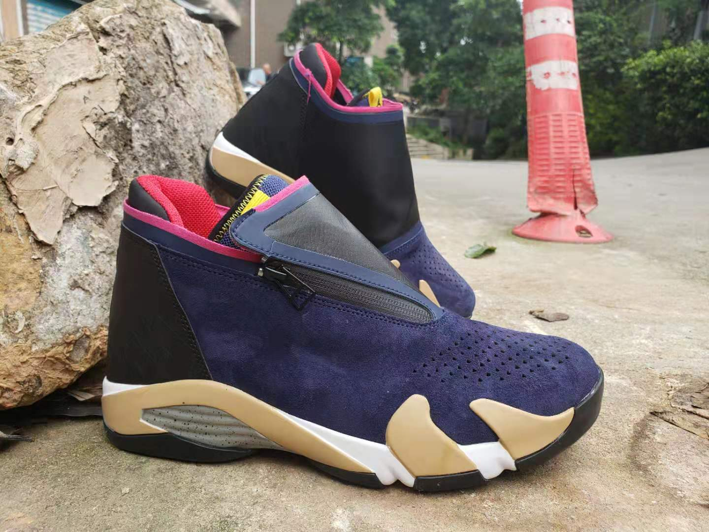 New Air Jordan 14 Retro Zipper Blue Brown Black