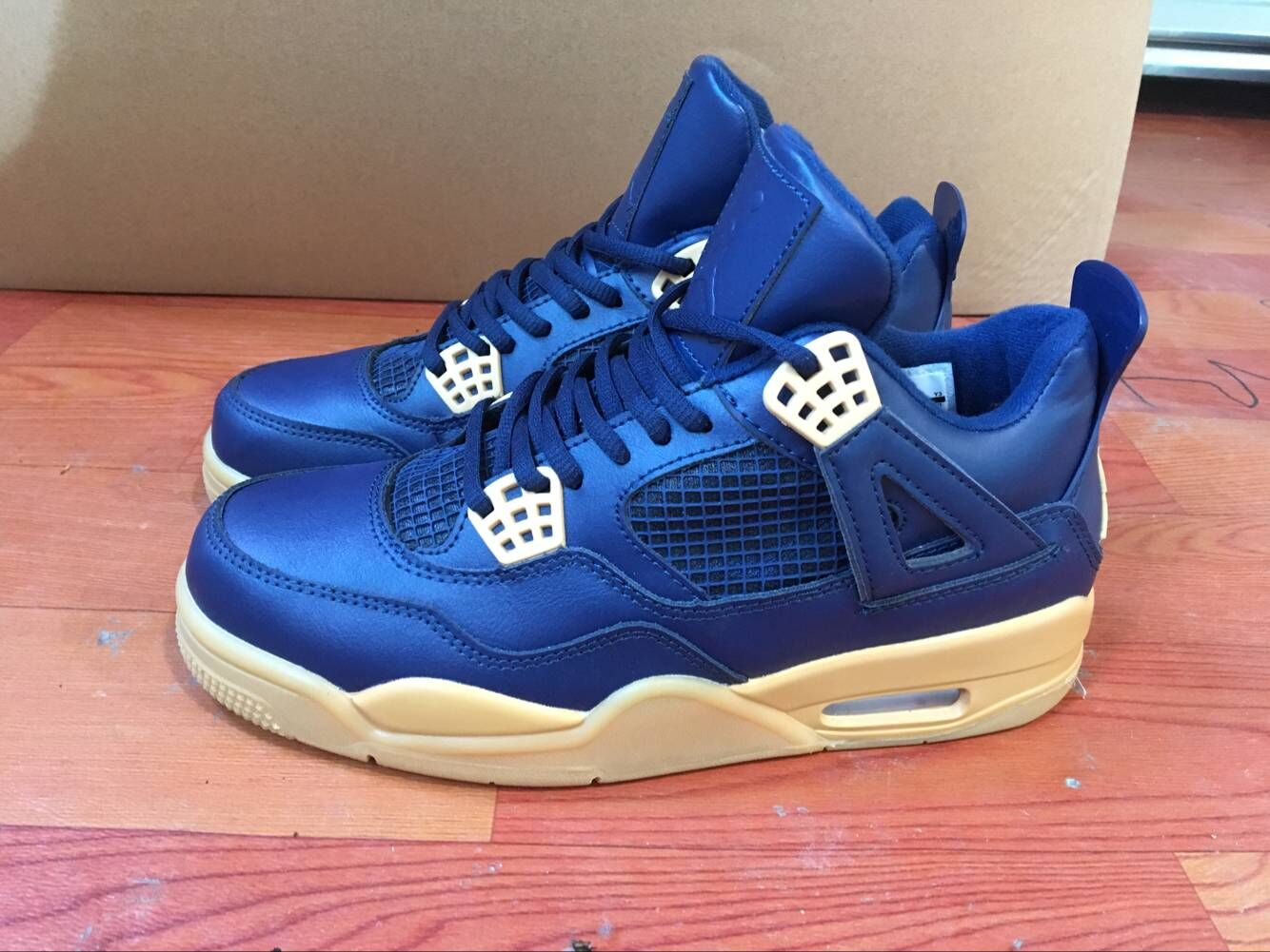 2019 Air Jordan 4 Retro Blue Beign Sole Shoes