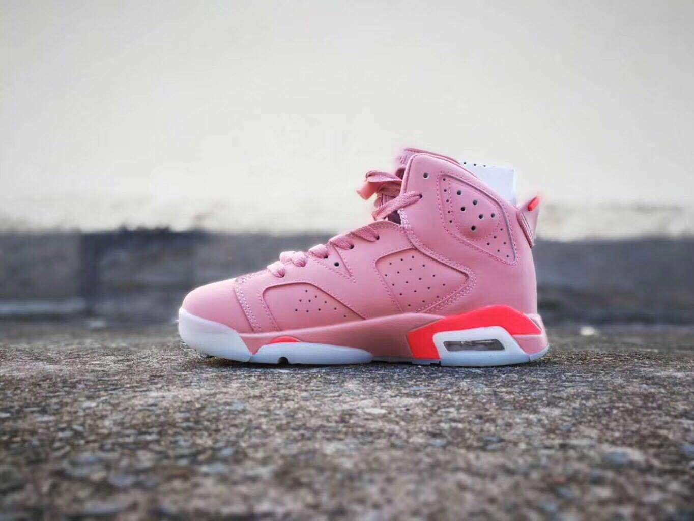 2019 Air Jordan 6 Women Pink White Shoes