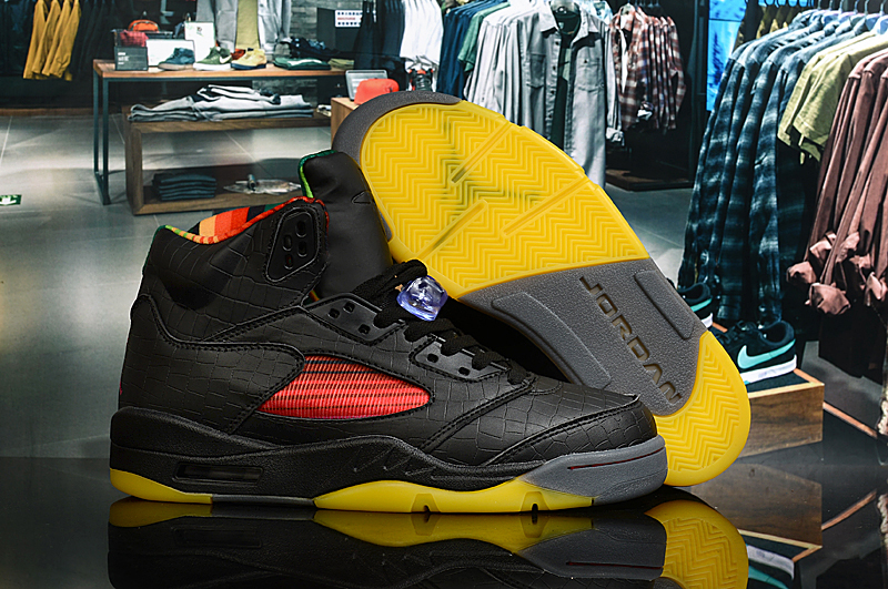New Limited Air Jordan 5 Retro Black Yellow Red