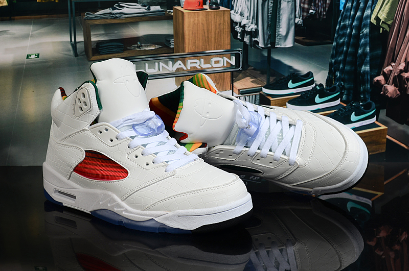 New Limited Air Jordan 5 White Colorful