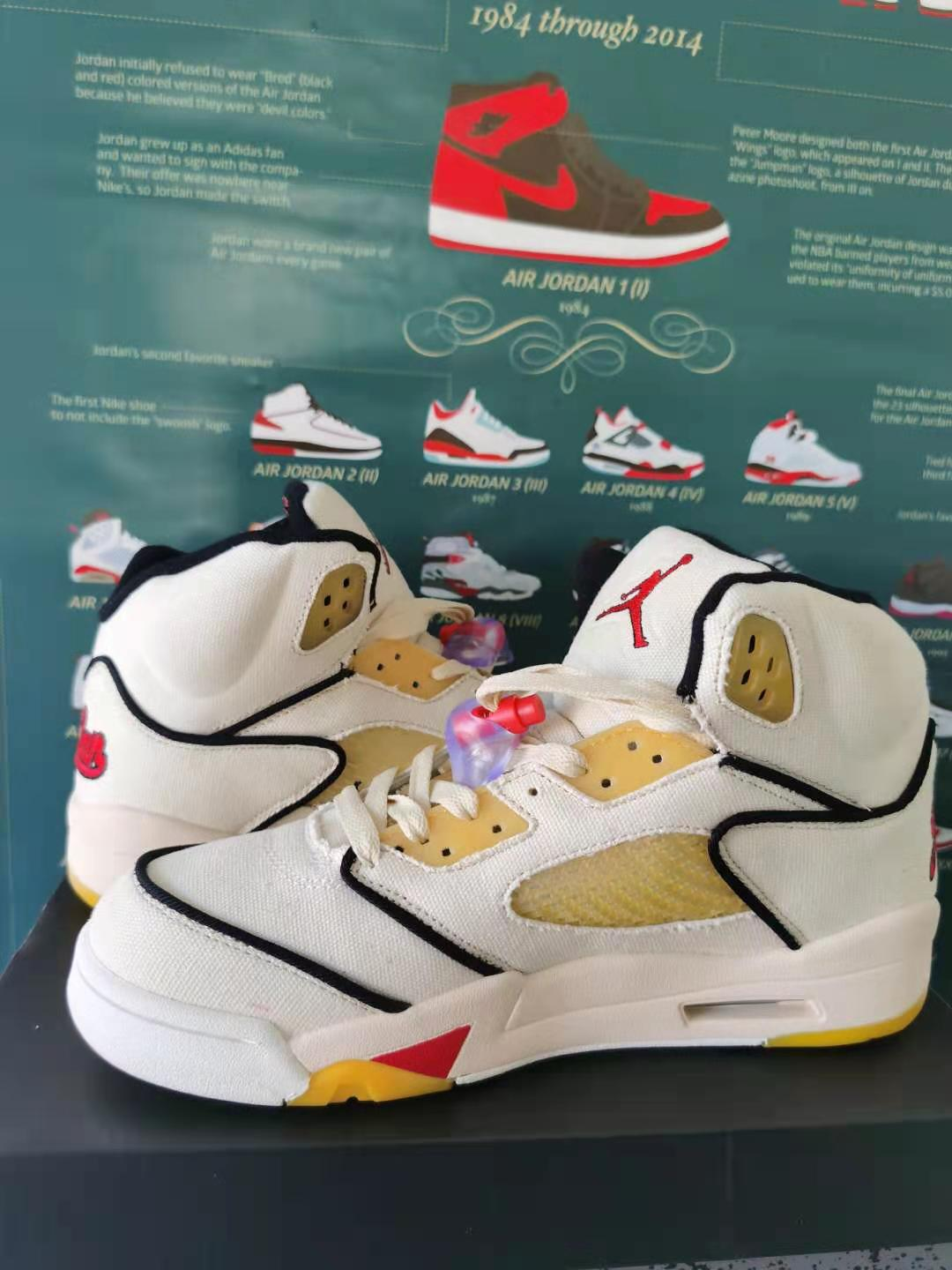 Air Jordan 5 Retro White Yellow Black
