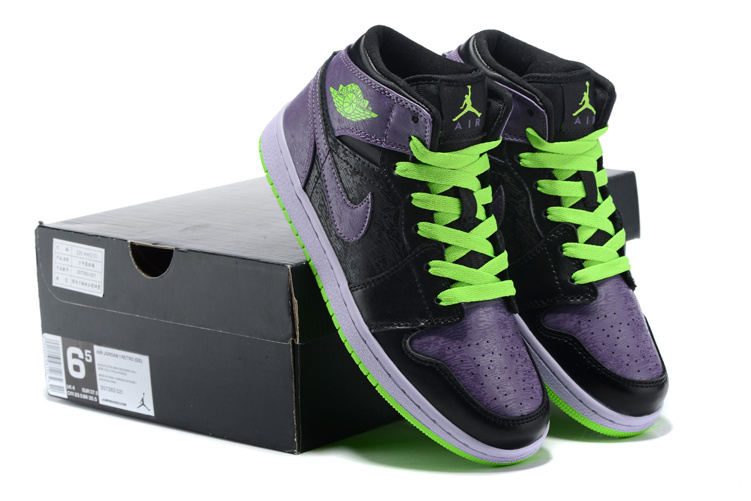 2015 Jordan 1 Retro Clown Black Purple Green Shoes136065 021