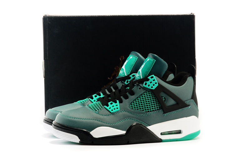 Latest 2015 Air Jordan 4 Retro Teal Green Black Shoes