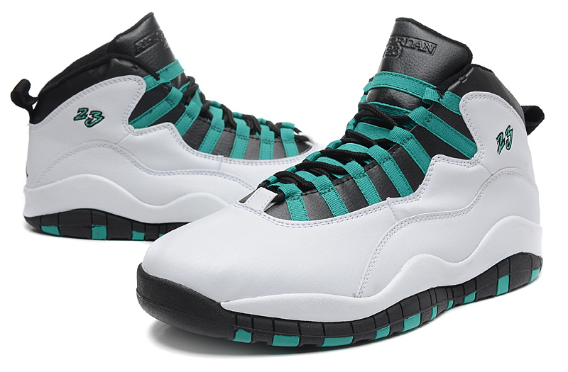 Latest 2015 Air Jordan 10 Retro White Green Black Shoes