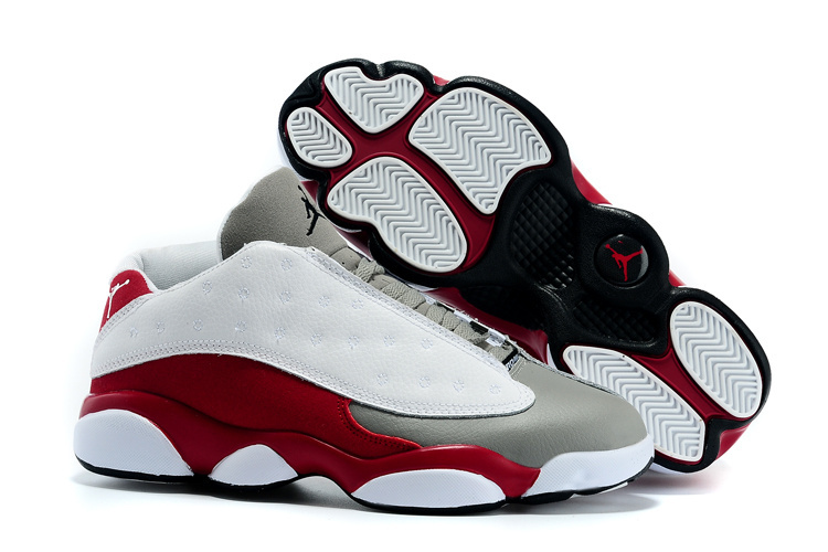 2015 Jordan Retro 13 Low White Grey Wine Red Shoes