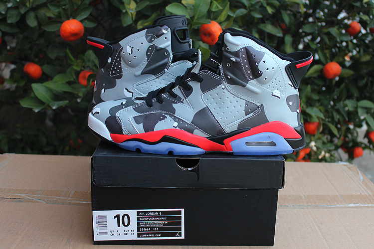 Latest 2015 Jordan 6 Retro Camouflage Grey Red Shoes