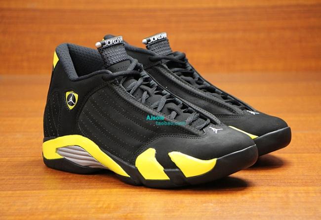 Latest 2015 Jordan 14 Shoes Thunder Edition Black Yellow