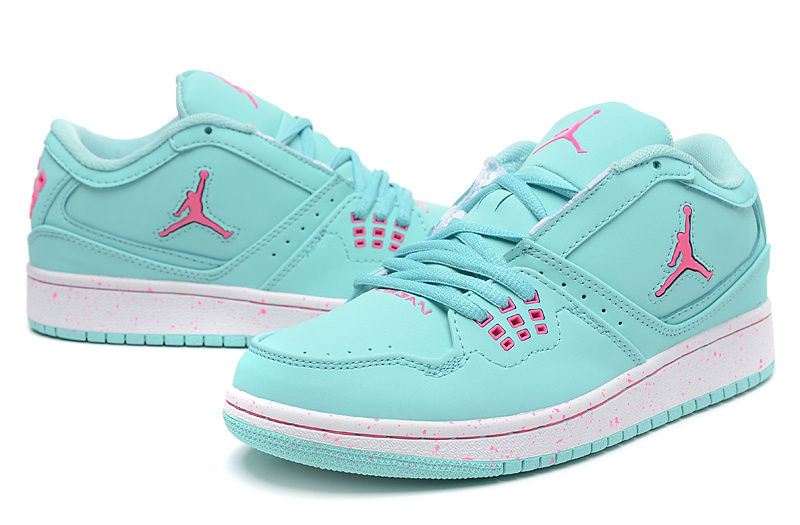 Women Air Jordan 1 Flight Low Baby Green Pink Shoes