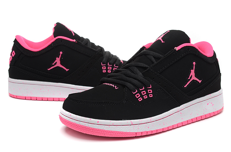 Women Air Jordan 1 Flight Low Black Pink Shoes