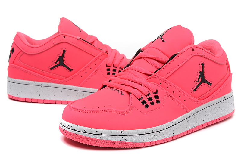 Women Air Jordan 1 Flight Low Pink White Shoes