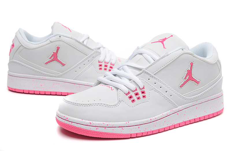 Women Air Jordan 1 Flight Low White Pink Shoes