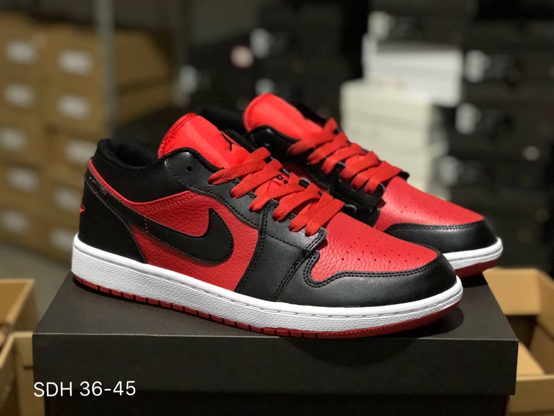 Air Jordan 1 Low Red Black White Shoes