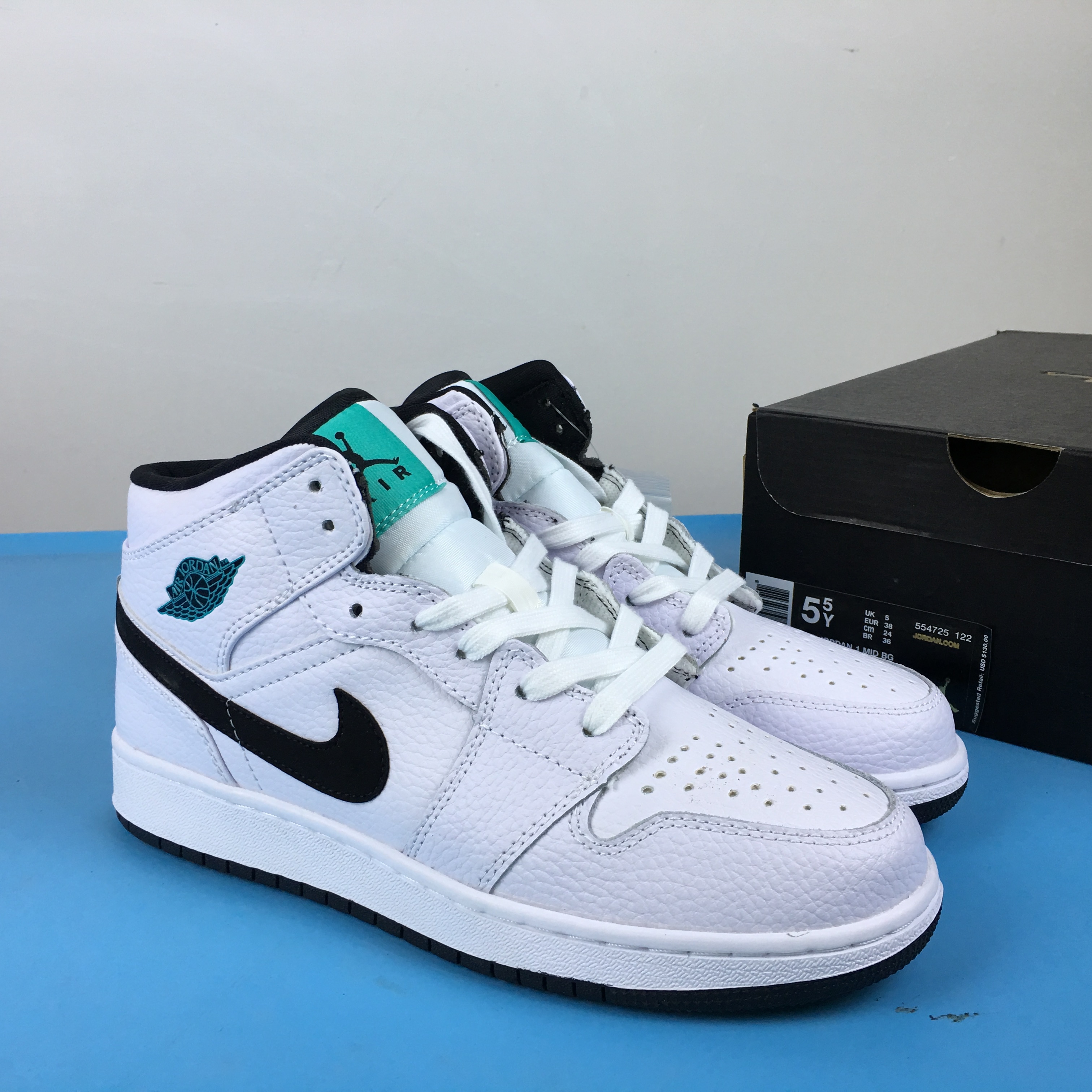 Air Jordan 1 Mid GS Peacock White Shoes