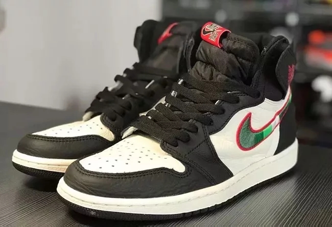 "Air Jordan 1 Retro High OG ""Sports Illustrated Black White Shine Green Red Shoes"