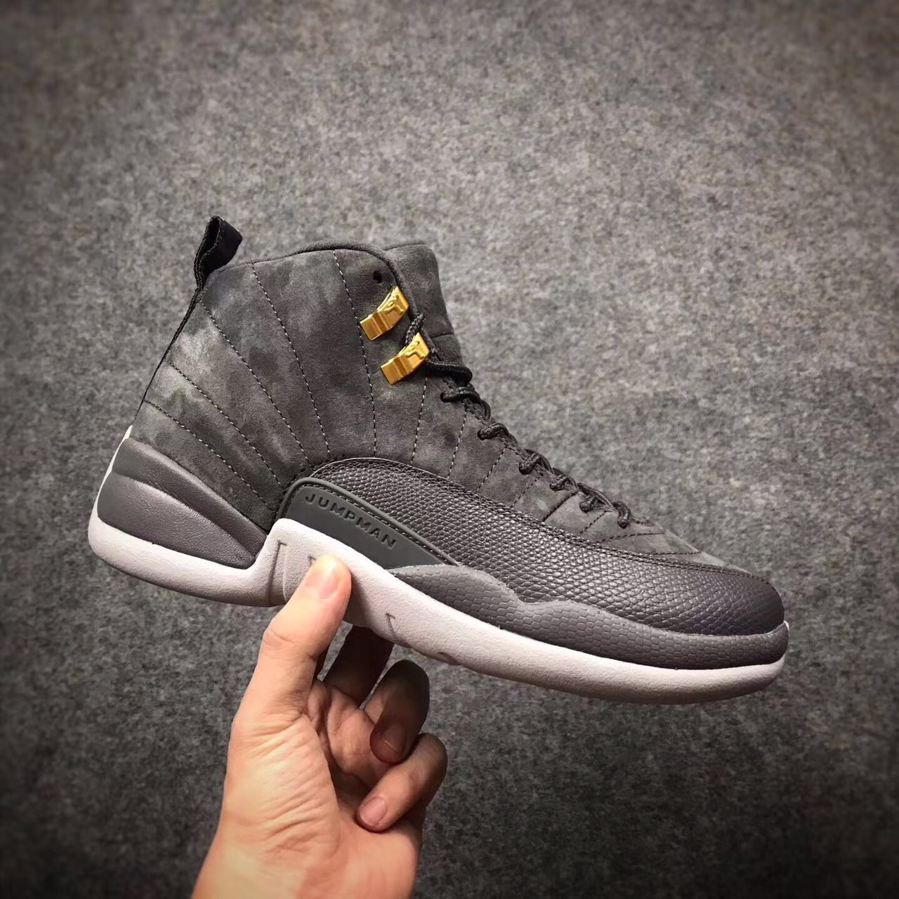 2017 Jordan 12 Dark Grey Gold Shoes