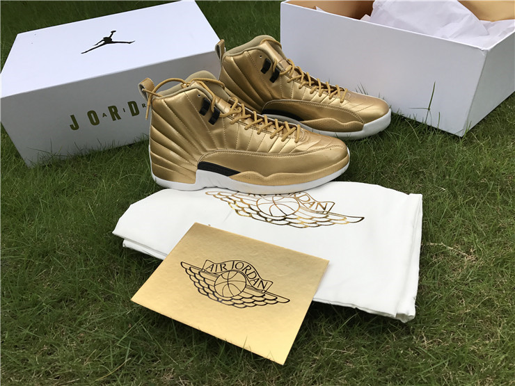 2016 Jordan 12 Pinnacle Gold Shoes
