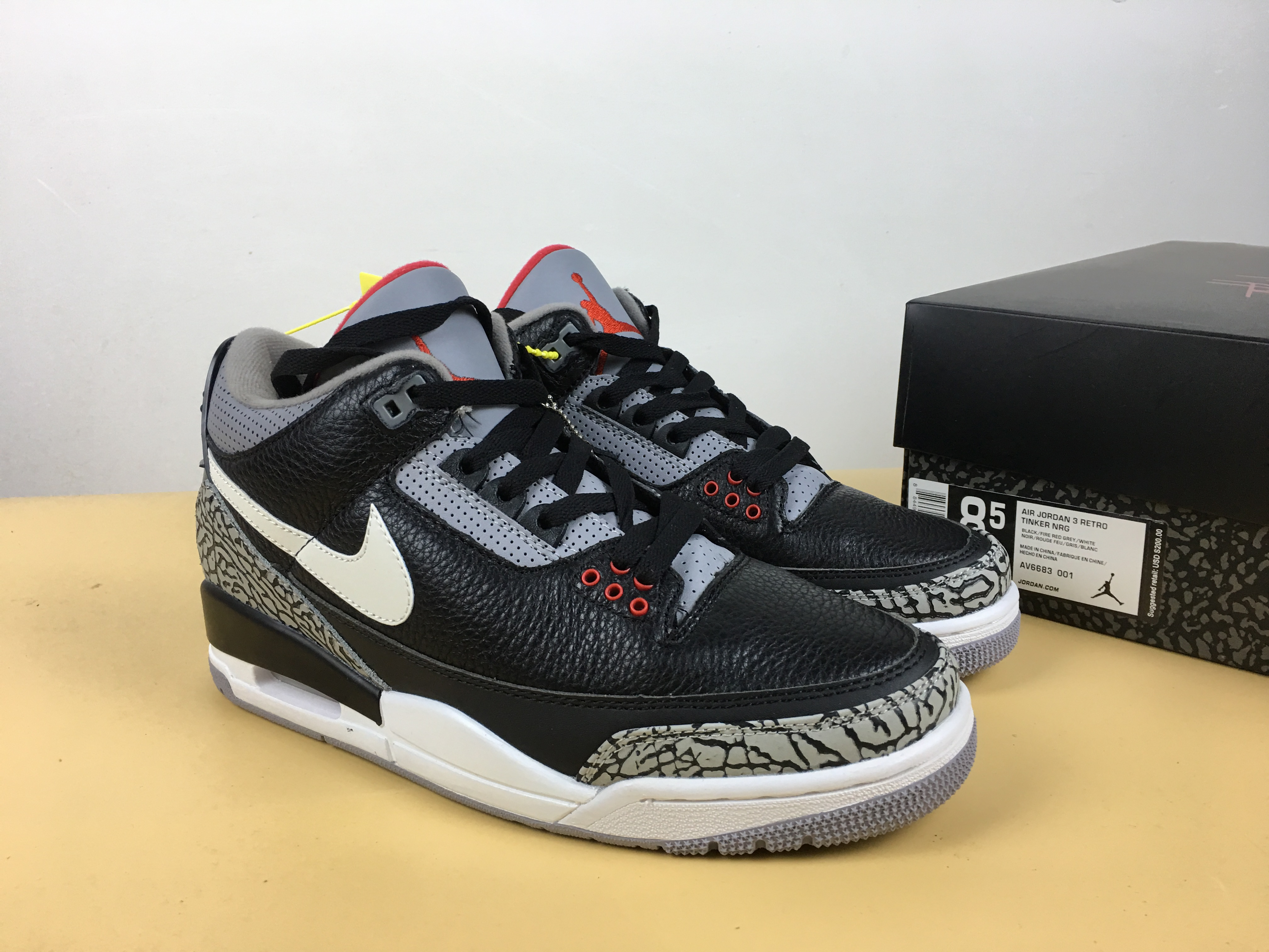 outlet store c1107 f76a4 Air Jordan 3 JTH Black Cement Grey White Shoes [18retro5810 ...
