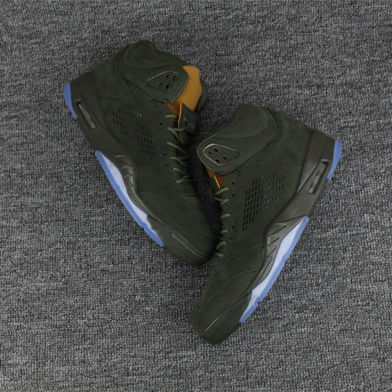 2017 New Jordan 5 PRM Take Flight Green Yellow Shoes