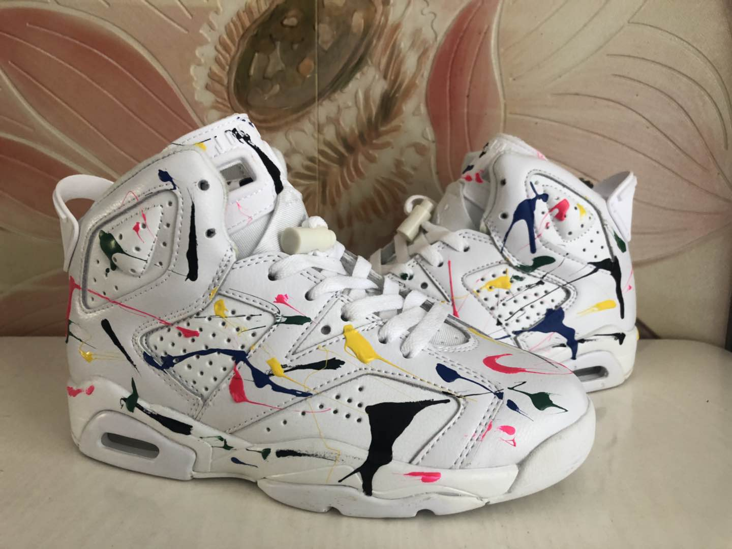 Air Jordan 6 Graffiti White Colorful Shoes For Women